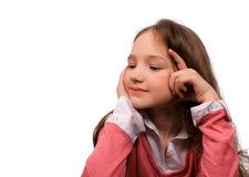 Boring little girl isolated Royalty Free Stock Photo