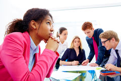 Boring meeting african businesswoman gesture Royalty Free Stock Photography