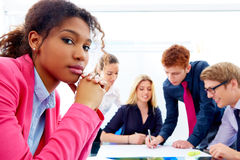 Boring meeting african businesswoman gesture Stock Photo