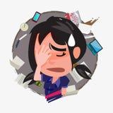Boring meisje met haar baan - vector royalty-vrije illustratie