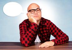 Boring moments. Bald guy have a boring moments royalty free stock photos