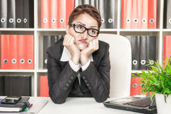 Boring office worker. Boring business woman working at office Royalty Free Stock Photo