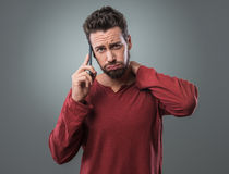 Boring phone call Royalty Free Stock Photo