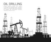 Boringsinstallaties en oliepompen op wit Royalty-vrije Stock Afbeelding