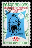 Boris Angelusev: The wily Peter, International Festival of Humour and Satire, Gabrovo serie, circa 1979. MOSCOW, RUSSIA - SEPTEMBER 15, 2018: A stamp printed in royalty free stock image
