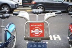 Boris bike. LONDON, UK - APRIL 02: Detail of Boris bikes in line. April 02, 2015 in London. On 27 February 2015. Mayor Boris Johnson secured Santander's royalty free stock photos