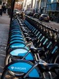 Boris Bikes Foto de archivo libre de regalías