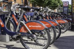 Boris bikes docked near Bethenal Green tube station in London,Uk stock photo