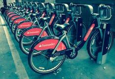 Boris Bikes In London Arkivbild