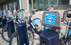 Boris bikes parking on business Canary Wharf ariaBoris bikes parking on business Canary Wharf aria royalty free stock images