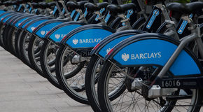 Boris bikes parking on business Canary Wharf Royalty Free Stock Images
