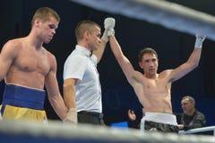 Boris Georgiev segrade matchen mot Viacheslav Kislitsyn arkivbilder