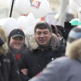 Boris Nemtsov with Anti-Putin protesters march through Moscow Stock Image