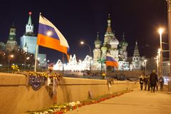 Boris Nemtsov gedode plaats stock afbeeldingen