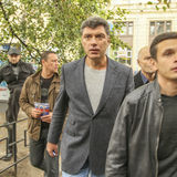 Boris Nemtsov - homem político do russo, um dos líderes da oposição durante o protesto de anti-Putin Fotografia de Stock