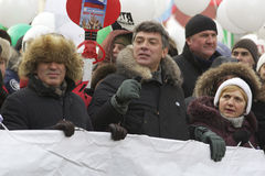 Boris Nemtsov participates in anti-Putin protesters march through Moscow Royalty Free Stock Images