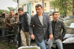 Boris Nemtsov russian statesman, one of the leaders of opposition during rally Stock Photos