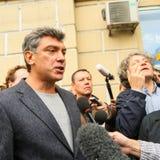 Boris Nemtsov - statista russo, uno dei capi di opposizione durante la protesta di anti-Putin Fotografia Stock Libera da Diritti
