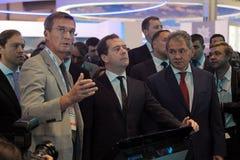 Boris Obnosov, Dmitry Medvedev en Sergey Shoygu Stock Foto