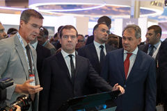 Boris Obnosov, Dmitry Medvedev and Sergey Shoygu Stock Images
