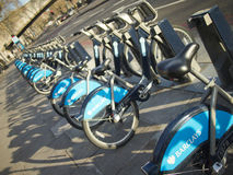 Boris's Bikes. Public bicycles in London aim to combat traffic congestion, reduce car emissions and promote a healthier lifestyle. The bikes are sponsored by Royalty Free Stock Images