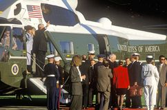 Boris Yeltsin departing Washington, D.C. in a helicopter Royalty Free Stock Photography