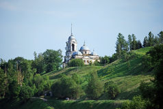 Borisoglebovsky cathedral and church of the Vernicle under a belltower on the hill in the city of Staritsa. City landscape. Tver r. Borisoglebovsky cathedral and royalty free stock images