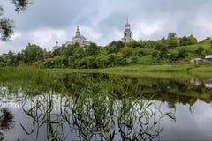 Borisoglebsky Monastery, Torzhok, Tver Region, Russia. Beatiful view on the old russian monastery stock photo