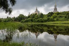 Borisoglebsky Monastery, Torzhok, Tver Region, Russia. Beatiful view on the old russian monastery stock photos