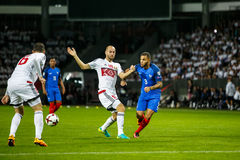 BORISOV - BELARUS, SEPTEMBER 2016 : France national football team in match of World Cup Qual. UEFA Group A. Between Belarus and France at the Borisov-Arena on royalty free stock images