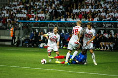 BORISOV - BELARUS, SEPTEMBER 2016 : France national football team in match of World Cup Qual. UEFA Group A. Between Belarus and France at the Borisov-Arena on Stock Photography