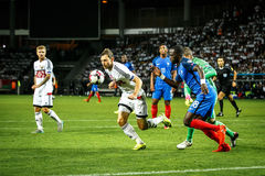 BORISOV - WIT-RUSLAND, SEPTEMBER 2016: Nationaal de voetbalteam van Frankrijk in gelijke van Wereldbeker Qual UEFA groepeert A Royalty-vrije Stock Foto's
