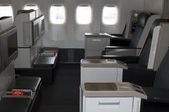 TC-LJA Turkish Airlines Boeing 777-300ER business class seats. Borispol, Ukraine - April 25, 2018: TC-LJA Turkish Airlines Boeing 777-300ER business class seats Royalty Free Stock Image