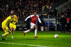 Borissow, Weißrussland - 14. Februar 2019: UEFA Europa League-Runde von Match 32 zwischen FC BATE Borissow und Arsenal FC lizenzfreie stockfotografie