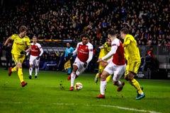 Borissow, Weißrussland - 14. Februar 2019: UEFA Europa League-Runde von Match 32 zwischen FC BATE Borissow und Arsenal FC lizenzfreie stockfotos
