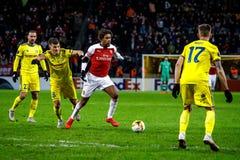 Borissow, Weißrussland - 14. Februar 2019: UEFA Europa League-Runde von Match 32 zwischen FC BATE Borissow und Arsenal FC lizenzfreie stockbilder