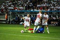 BORISSOW - WEISSRUSSLAND, IM SEPTEMBER 2016: Nationales Fußballteam Frankreichs im Match des Weltcups Qual UEFA gruppieren A stockfotografie
