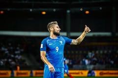BORISSOW - WEISSRUSSLAND, IM SEPTEMBER 2016: Olivier Giroud vom nationalen Fußballteam Frankreichs im Match des Weltcups Qual stockfotos