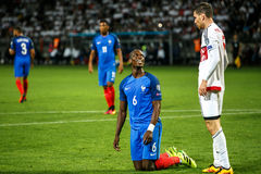 BORISSOW - WEISSRUSSLAND, IM SEPTEMBER 2016: Pogba im Fußballspiel des Weltcups Qual UEFA gruppieren A lizenzfreies stockbild