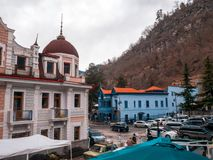 BORJOMI,Georgia-January 16, 2019: Architecture of the Borjomi town.Georgia royalty free stock photo
