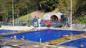 Open air sulphur water swimming pools in Borjomi. Georgia stock footage