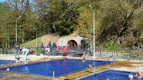 Open air sulphur water swimming pools in Borjomi. Georgia stock video footage