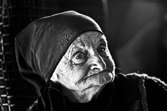 Borjomi, Gruzja, Listopad 26, 2014: Czarny i biały portret Obrazy Stock