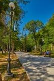 BORJOMI, GRUZJA - 07 2017 SIERPIEŃ: Borjomi centrali grodzki park dla Obrazy Stock