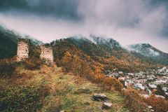 Borjomi, samtskhe-Javakheti, Georgië Het beroemde Lokale Oriëntatiepunt is Gogia-Vesting stock foto's
