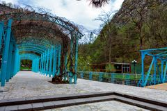 Borjomi, Samtskhe-Javakheti, Georgia. arch Entrance To Pavilion Above Hot Spring Of Borjomi Mineral Water. Famous Local Landmark Is City Park Royalty Free Stock Photography