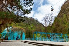 Borjomi, Samtskhe-Javakheti, Georgia. arch Entrance To Pavilion Above Hot Spring Of Borjomi Mineral Water. Famous Local Landmark Is City Park Stock Photo