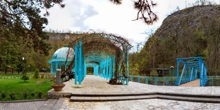Borjomi, Samtskhe-Javakheti, Georgia. arch Entrance To Pavilion Above Hot Spring Of Borjomi Mineral Water. Famous Local Landmark Is City Park Royalty Free Stock Photo