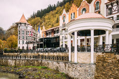 Borjomi, Samtskhe-Javakheti, Georgia. Crowne Plaza Borjomi Hotel. Borjomi, Samtskhe-Javakheti, Georgia - October 25, 2016: Crowne Plaza Borjomi Hotel House In Royalty Free Stock Images