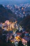 Borjomi Samtskhe-Javakheti, Georgia Borjomi för flyg- sikt Cityscape royaltyfria foton